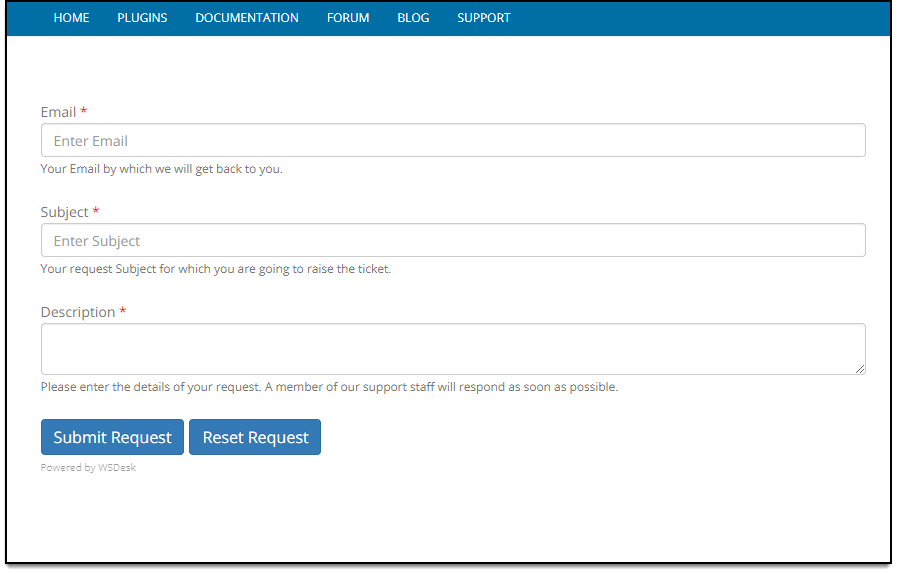 WSDesk WordPress HelpDesk | Support Form