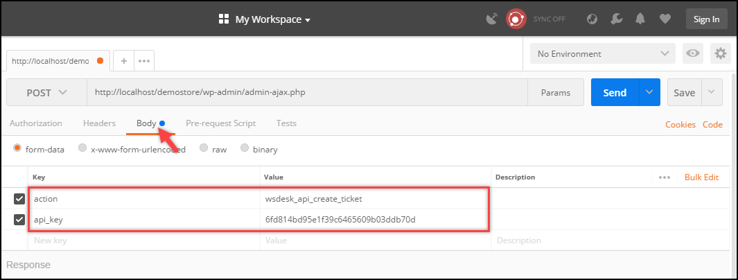 WSDesk Helpdesk | Postman | Entering action & api_key