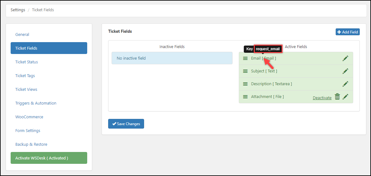 WSDesk Helpdesk | WSDesk Ticket Field Keys