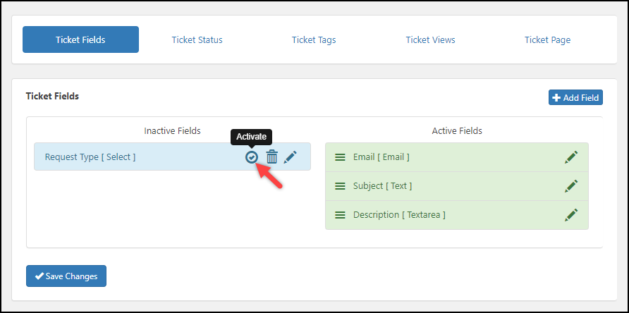 WordPress Helpdesk Plugin - WSDesk | Activating a Ticket Field