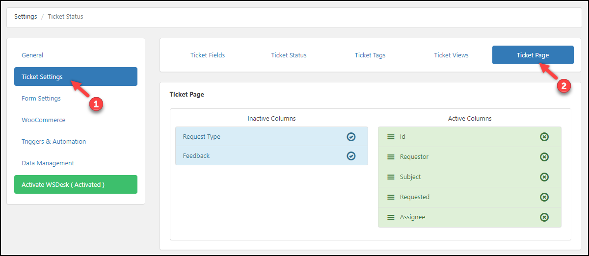 WordPress Helpdesk Plugin - WSDesk | Ticket Page settings