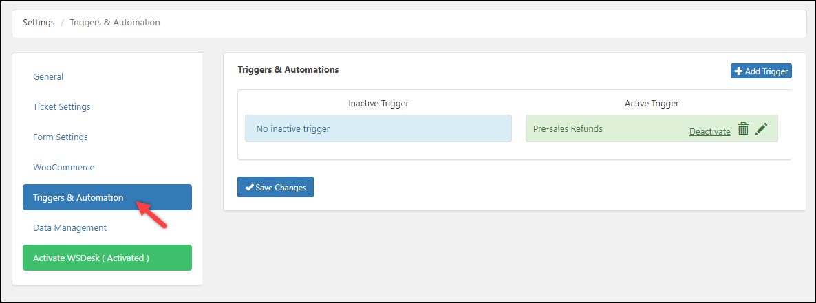 WordPress Helpdesk Plugin - WSDesk | Triggers and Automation settings