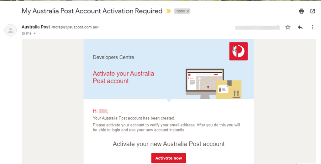 Aus Post Email Confirmation