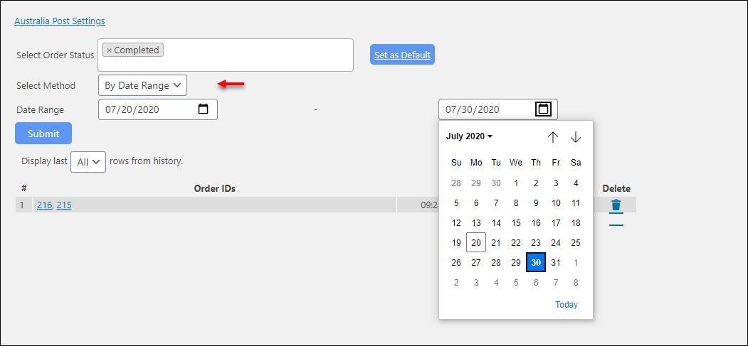 WooCommerce Australia Post Bulk Label Printing Add-On | Bulk label printing using Date-Range