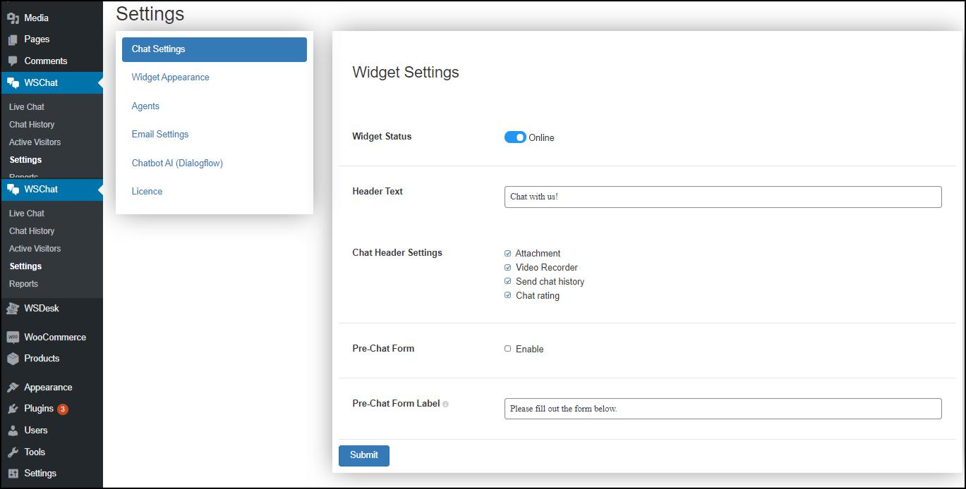Set up WSChat - ELEX WordPress Live Chat Plugin | Chat Settings