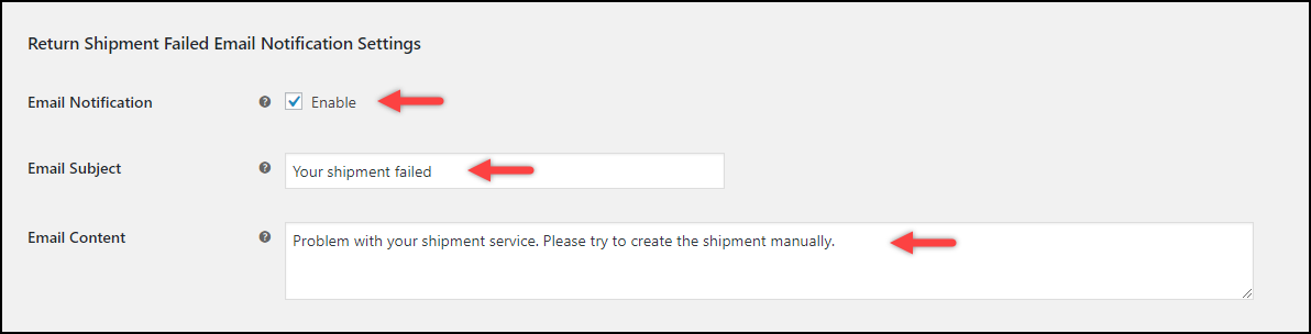 ELEX WooCommerce EasyPost Return Label Add-On | Return Shipment Failed Notification Settings
