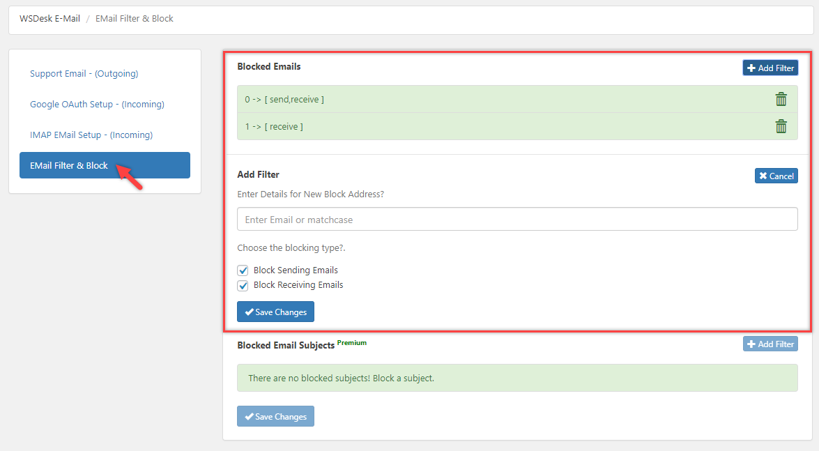 ELEX WordPress HelpDesk & Customer Ticketing System  Email Filtering and Blocking