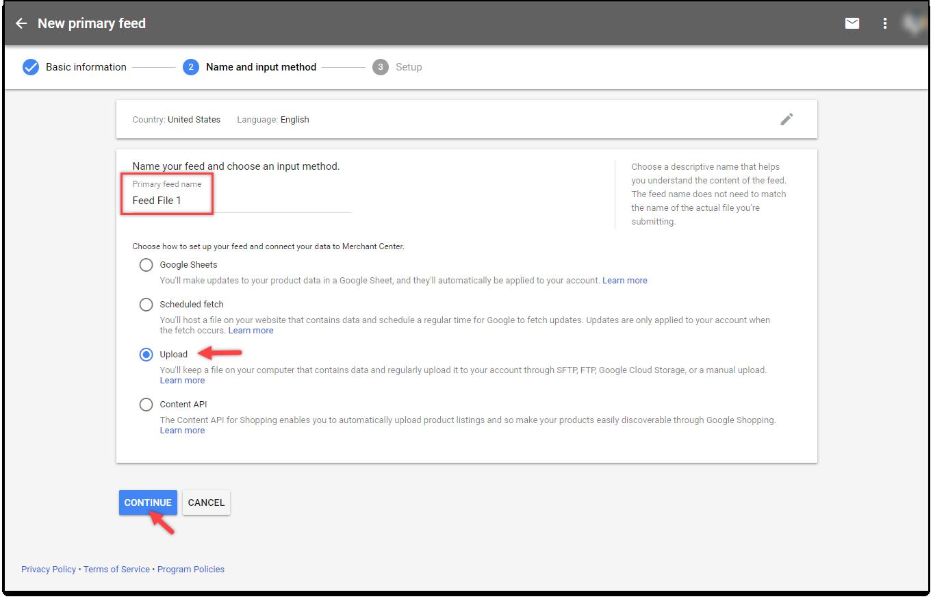 ELEX Google Product Feed plugin | Feed Name and Input method