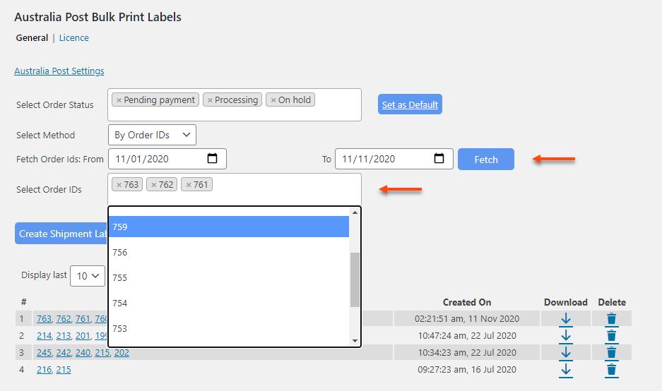 ELEX WooCommerce Australia Post Bulk Label Printing Add-On | Select Order IDs