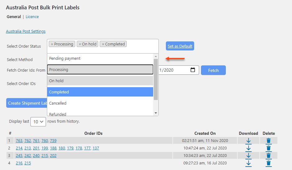 ELEX WooCommerce Australia Post Bulk Label Printing Add-On | Select Order Status for Printing Labels