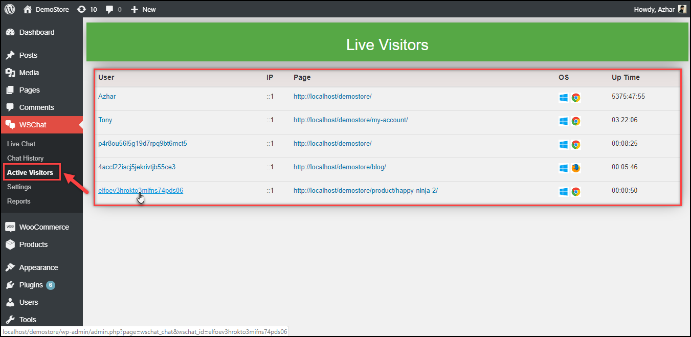 Set up WSChat - ELEX WordPress Live Chat Plugin | Active (Live) visitors