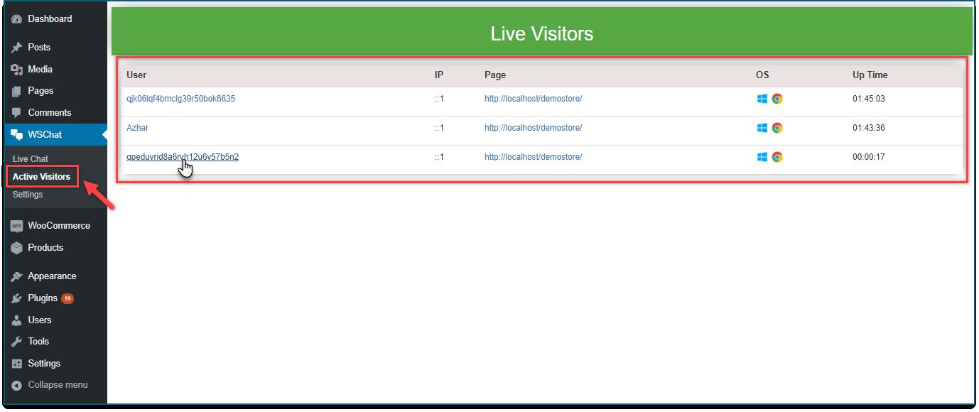 Set up WSChat - WordPress Live Chat Plugin | Active visitors