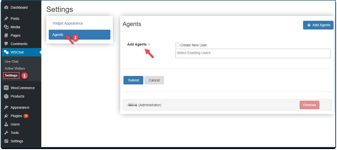 Set up WSChat - WordPress Live Chat Plugin   Add agent profiles