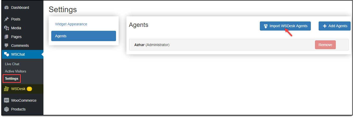 Set up WSChat - WordPress Live Chat Plugin   Add WSDesk Agents