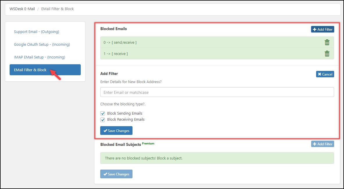 WSDesk - WordPress Helpdesk Plugin   Email Blocking