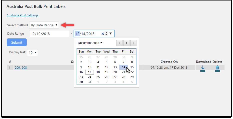 WooCommerce Australia Post Bulk Label Printing Add-On | Using Date range
