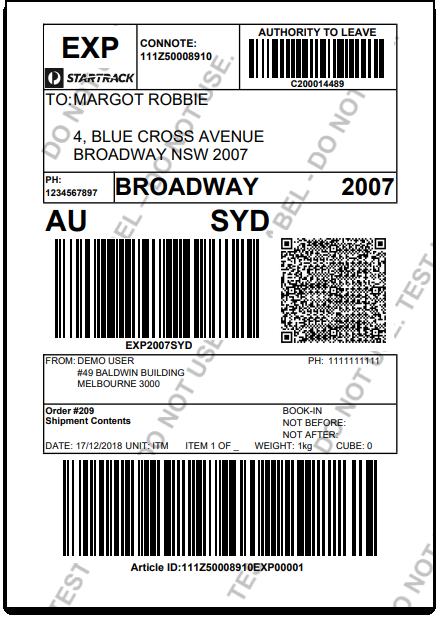 WooCommerce Australia Post Bulk Label Printing Add-On | Sample Australia Post Label
