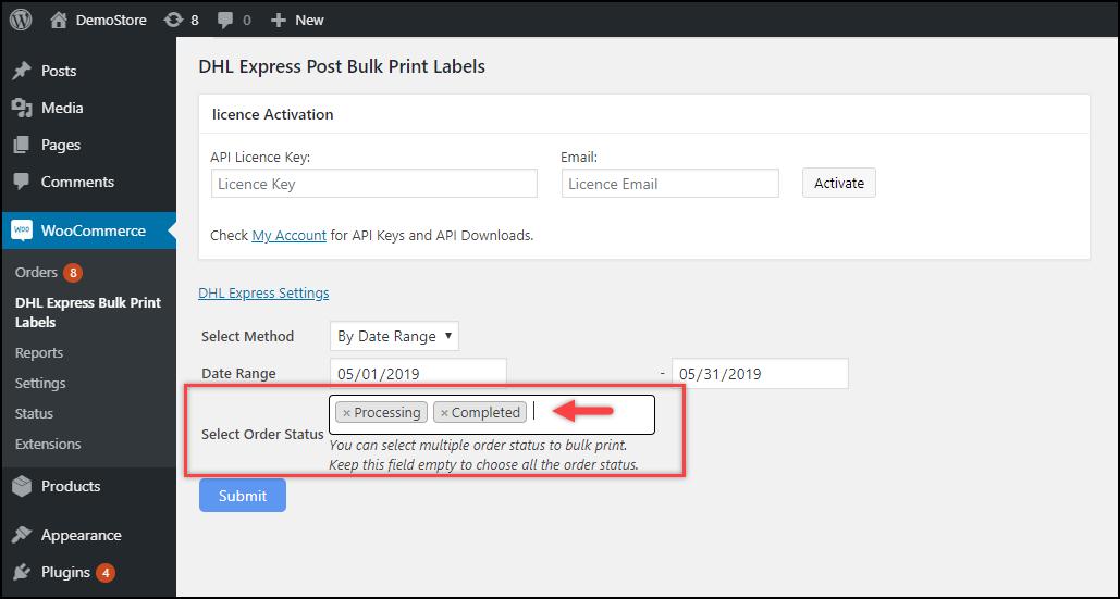 WooCommerce DHL Express Bulk Label Printing Add-On | Using Order Date Range