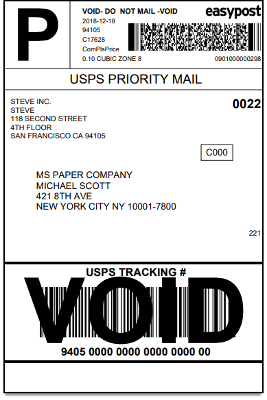 ELEX WooCommerce EasyPost Bulk Label Printing Add-On | Sample USPS Label