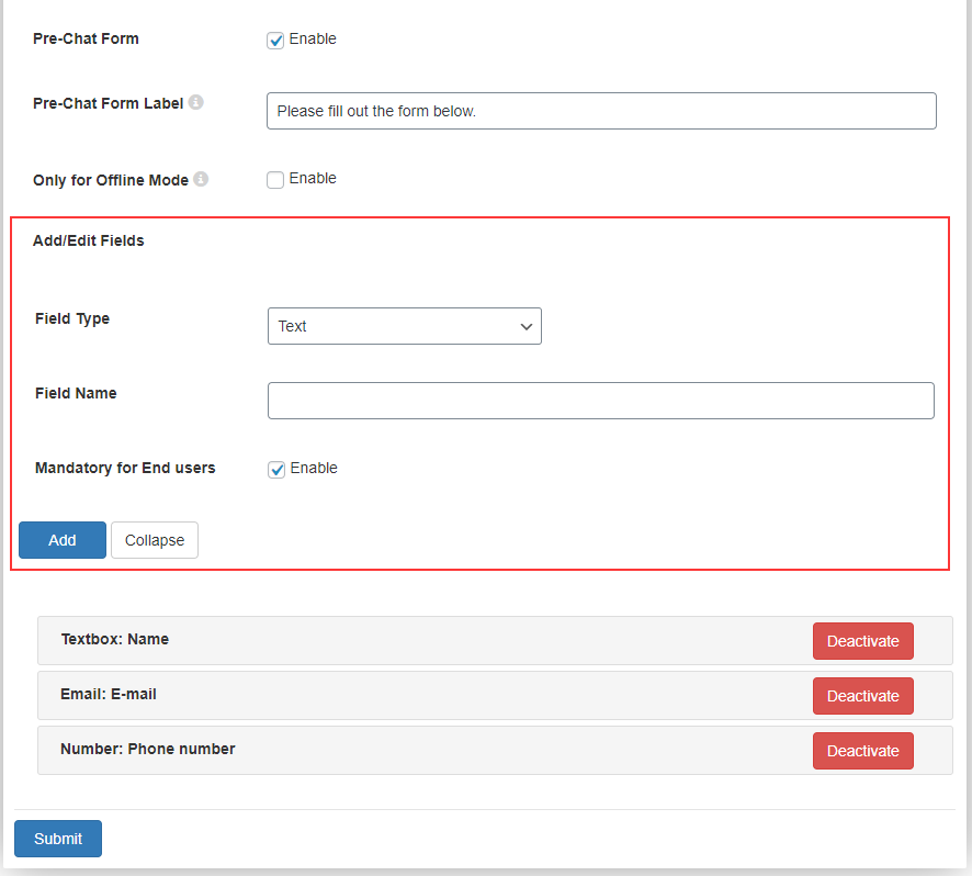 WSChat – ELEX WordPress Live Chat Plugin | pre-chat form-settings