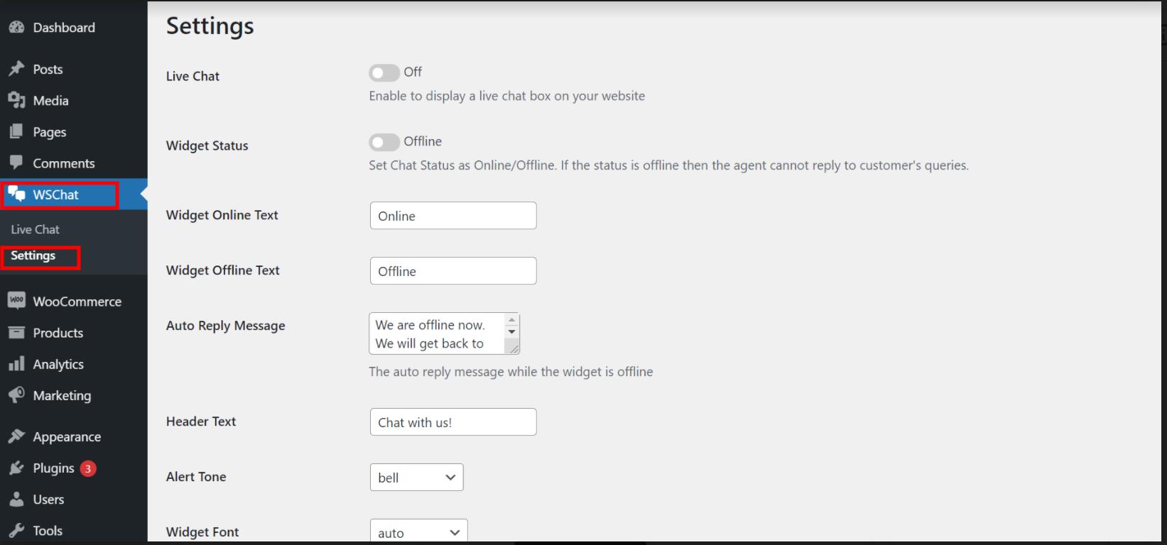 ELEX WordPress Live Chat Plugin   settings