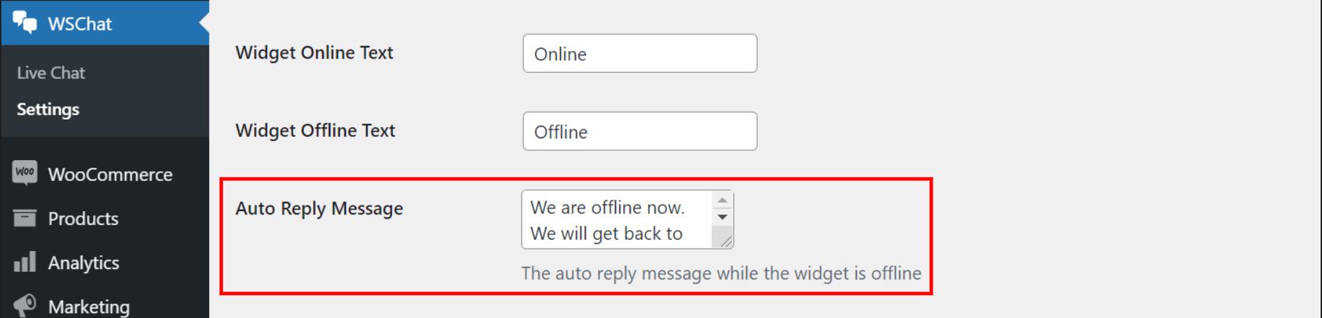 ELEX WordPress Live Chat Plugin   auto reply message