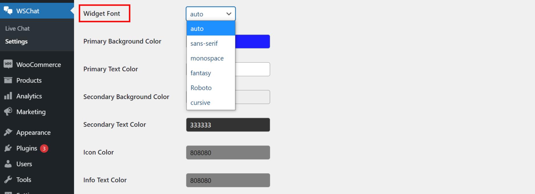 ELEX WordPress Live Chat Plugin   widget font