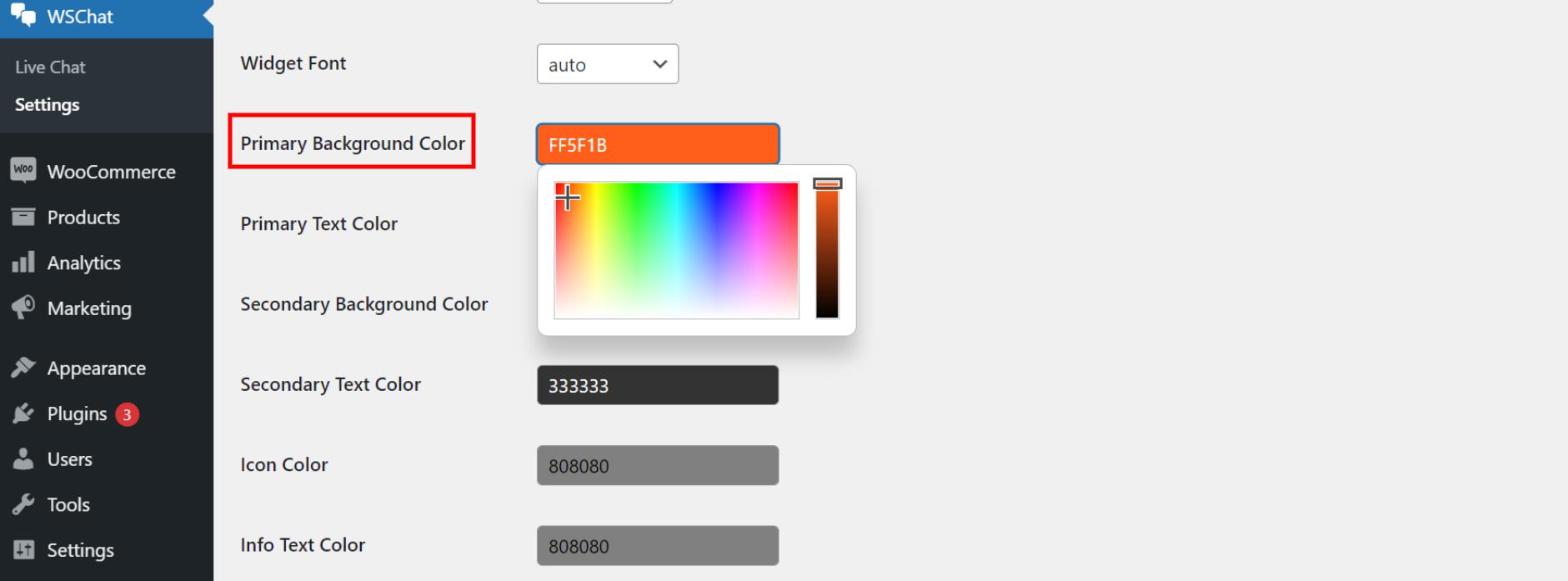ELEX WordPress Live Chat Plugin   primary background color