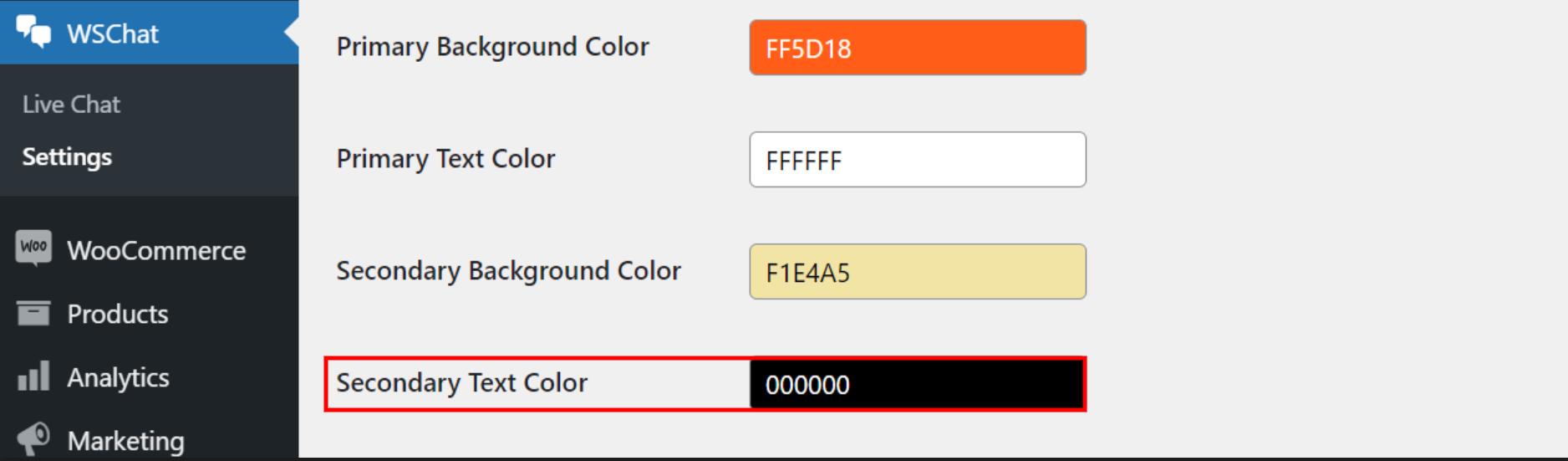 ELEX WordPress Live Chat Plugin   secondary text color