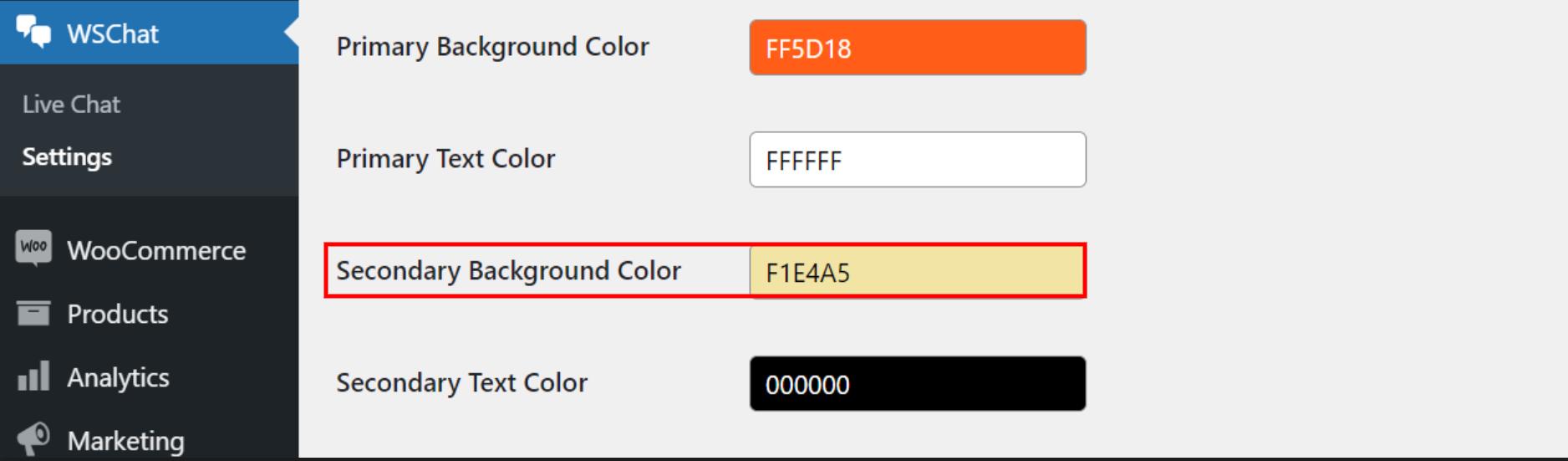 ELEX WordPress Live Chat Plugin   secondary background color