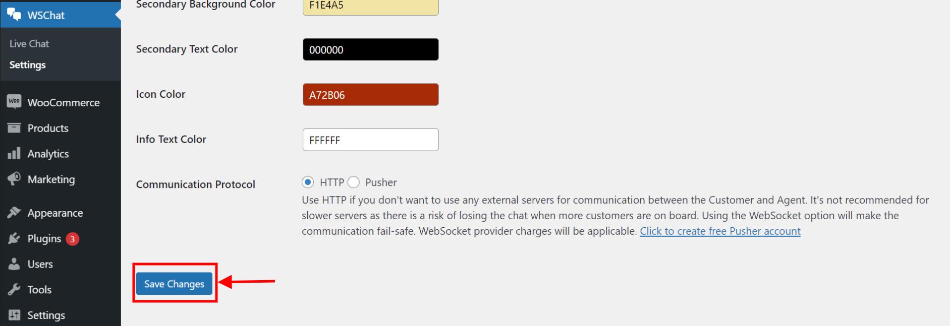 ELEX WordPress Live Chat Plugin   save changes