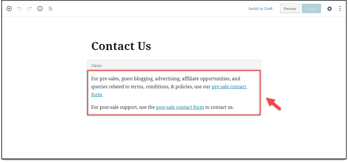 Creating Multiple Support Forms | Content for Contact Us page