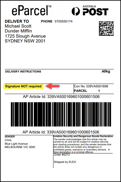Customize Australia Post Shipping Labels | Signature Not Required on label