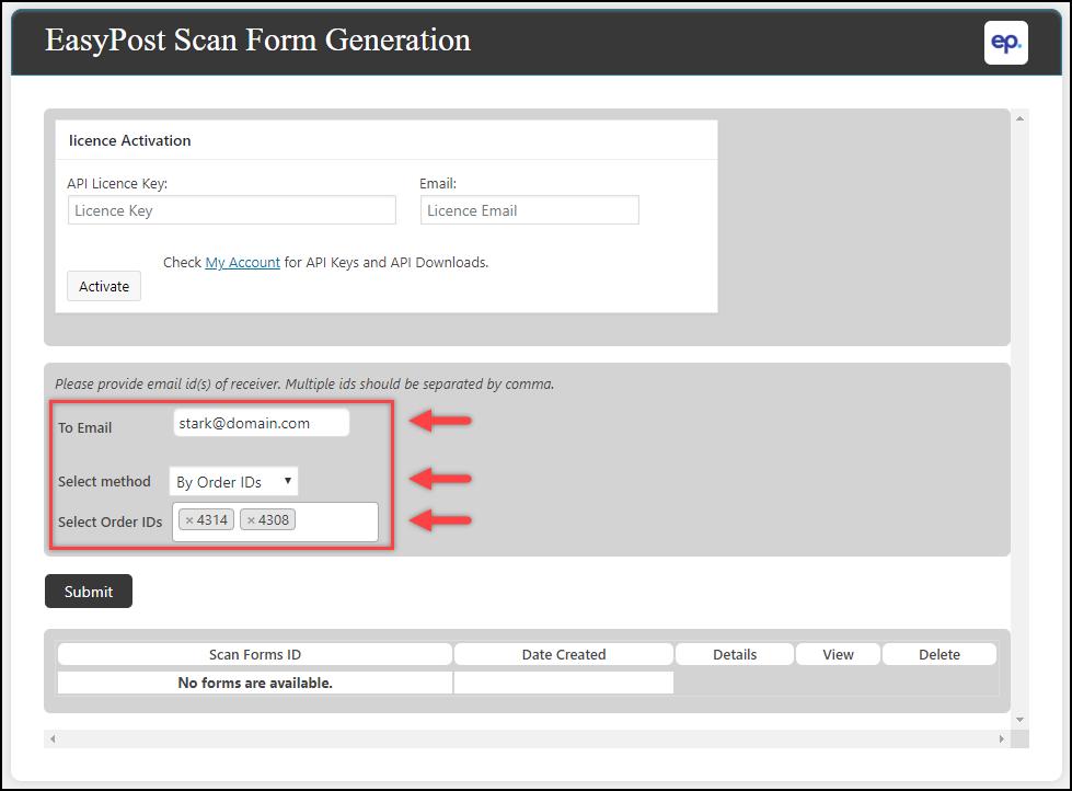 ELEX WooCommerce EasyPost Generate SCAN Form Add-On | Sample settings