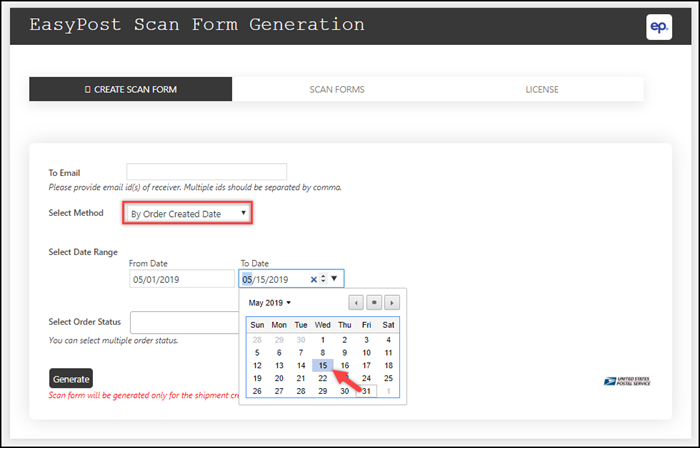 ELEX WooCommerce EasyPost SCAN Forms Add-On | Order Creation Date