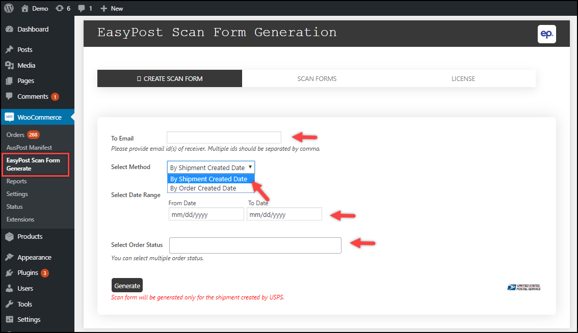 ELEX WooCommerce EasyPost Generate SCAN Form Add-On | Add-On Settings