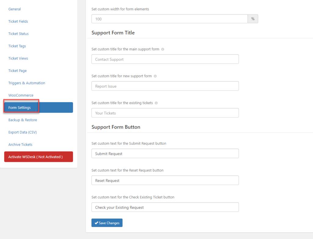Form Settings | WSDesk |WordPress HelpDesk Plugin