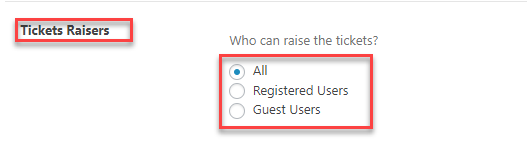 Ticket raisers | WordPress helpdesk Plugin