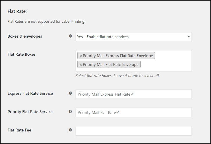 WooCommerce USPS eVS Shipping Label | USPS Flat Rate Box Settings