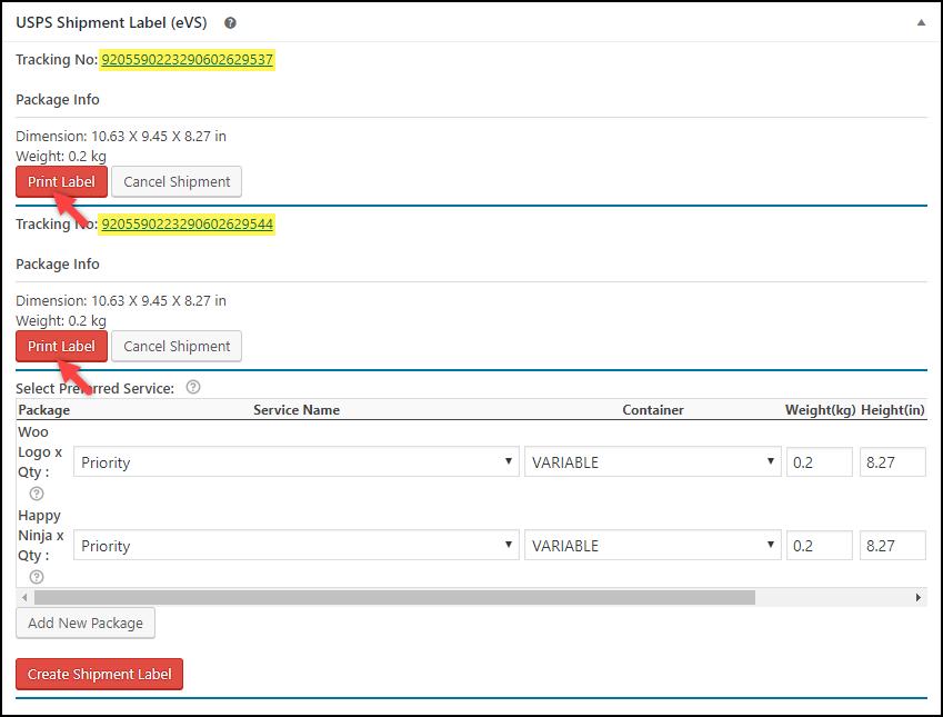WooCommerce USPS eVS Shipping Label | Printing USPS eVS Shipment Label
