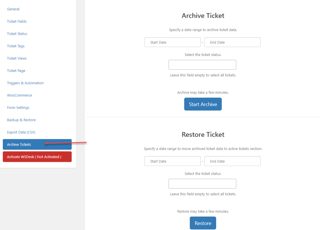 Archive Ticket | WSDesk | WordPress HelpDesk Plugin