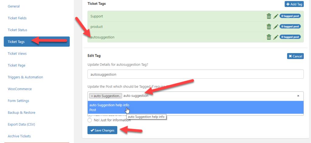 AutoSuggestion | WordPress Ticket System
