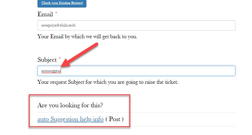 autosuggestion front end form | WordPress Helpdesk Plugin