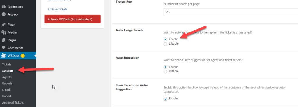 Auto suggestion check | WordPress Ticket System