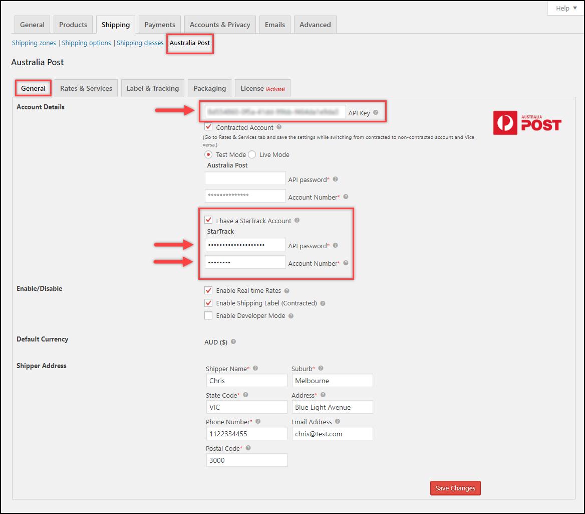 Integrate WooCommerce with Australia Post StarTrack | Plugin API settings