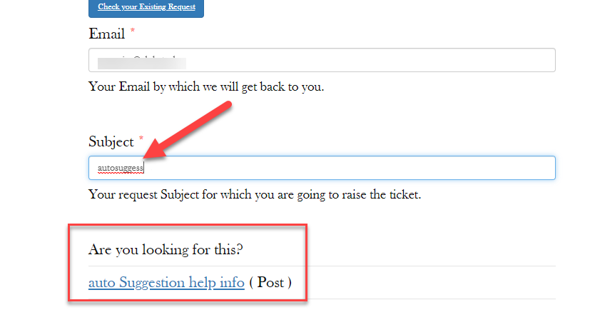 Auto Suggestion | WSDesk | WordPress Ticket Plugin