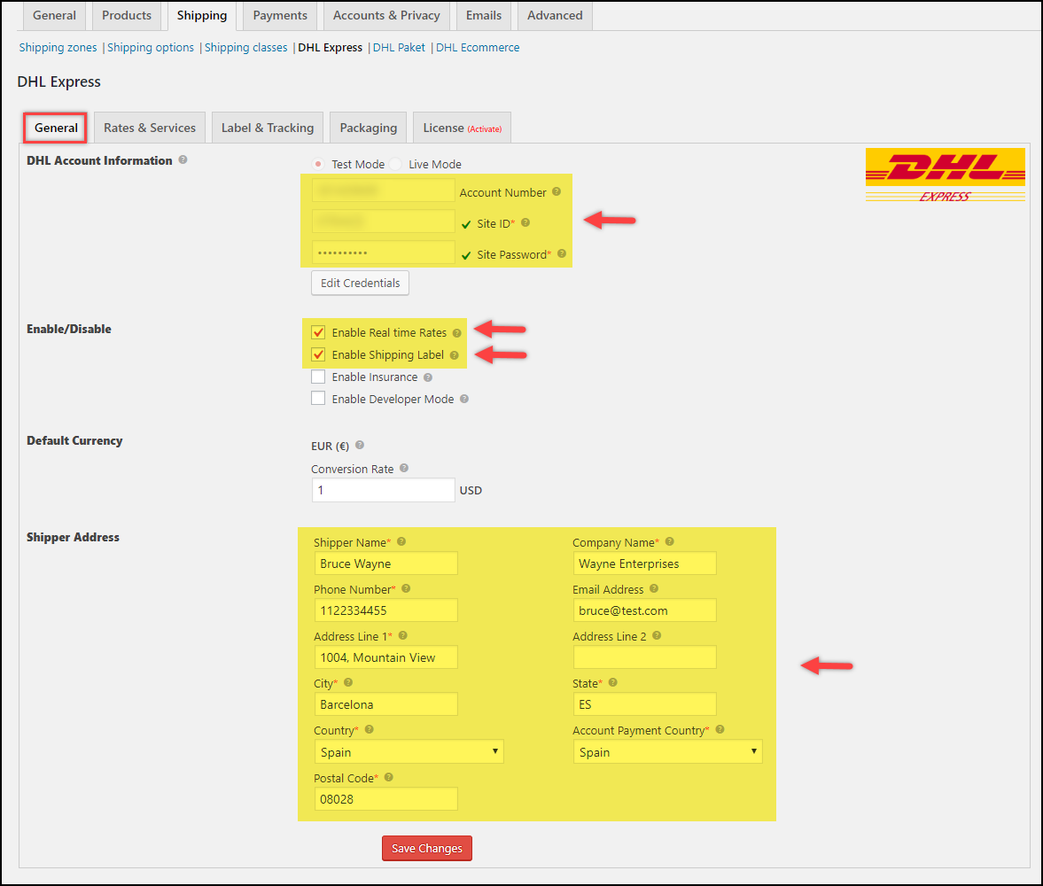 Customizing DHL Shipping Label | Enabling Shipping Label Generation