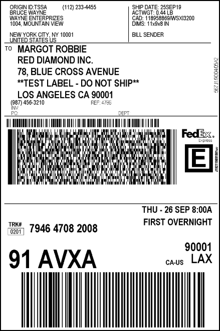 Customize FedEx Shipping Labels with EasyPost | Sample FedEx Domestic Shipping Label