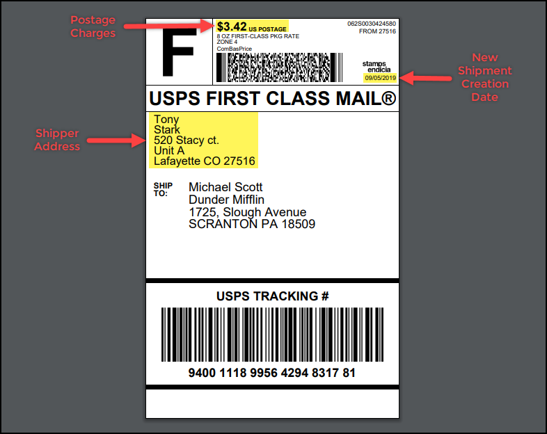 Customize Stamps.com-USPS Shipping Label | Sample Stamps.com USPS Label