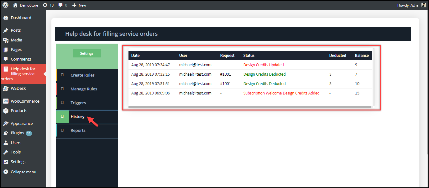 WSDesk Help Desk for Filling Service Orders | Agent view of Subscription History